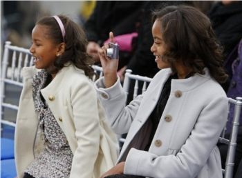 Malia and Sasha at the Lincoln Memorial Inauguration Concert