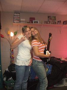 Women playing Guitar Hero