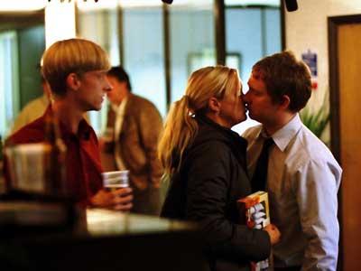 Gareth watches on as Dawn kisses Tim