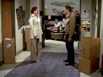 Will and Grace meet again outside Lyla and Ben\'s dorm rooms