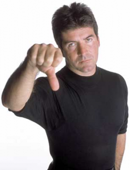 Simon Cowell showing disapproval