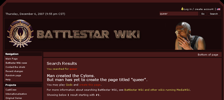 Battlestar Wiki search results