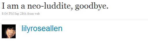 Lily Allen's last tweet