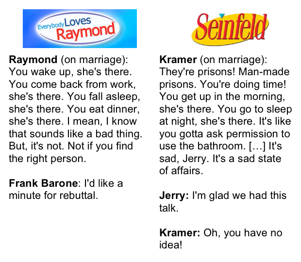 Seinfeld/Raymond Marriage Dialogue Comparison