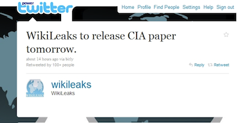Wikileaks Twitter Announcement