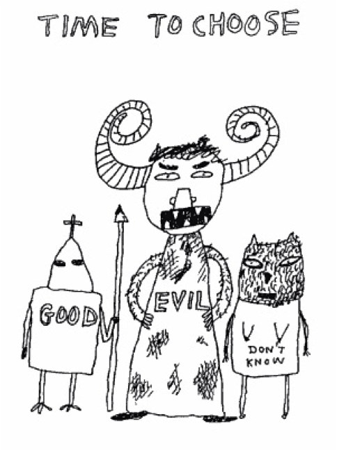 "Scottish cartoonist David Shrigley's ""Time to Choose"""