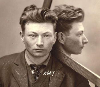 Mirrored mug-shot from Mark Michaelson and Steven Kasher, eds. <em>Least Wanted: A Century of American Mugshots</em> (Steidl, 2009)