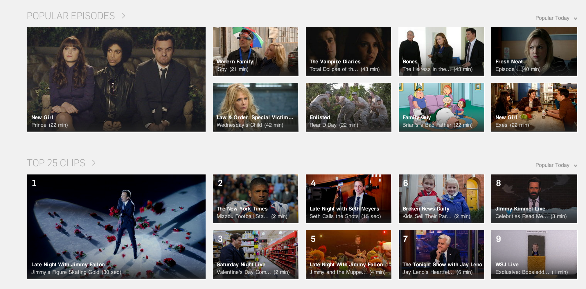 Two of Hulu's default main-page categories