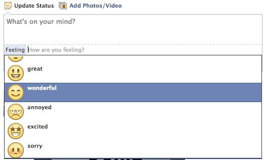 Facebook Status Updates List