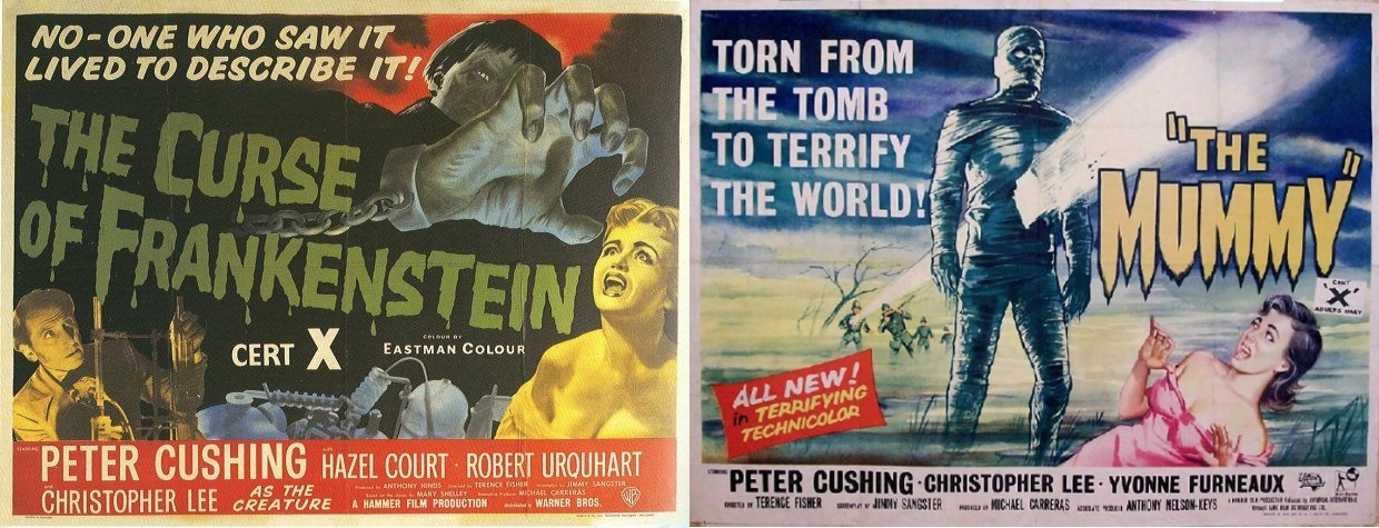 Posters for Curse of Frankenstein and The Mummy