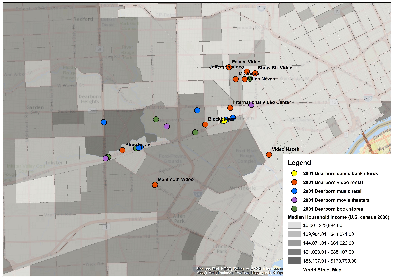 Dearborn, MI Video Store Locations, 2001
