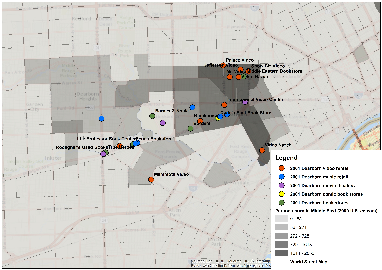 Dearborn, MI Arab Residents' Locations in 2001
