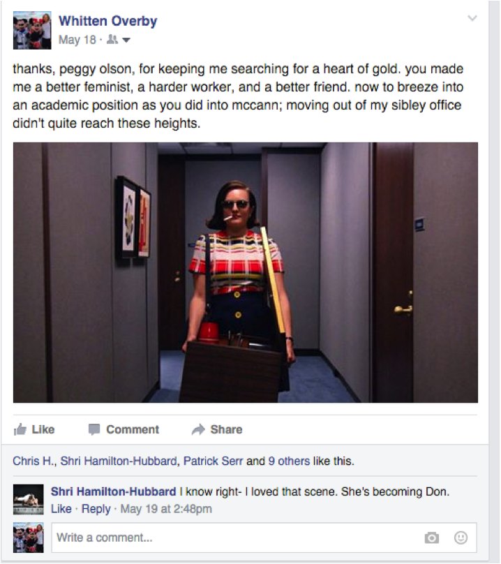 My Facebook post about Peggy Olson