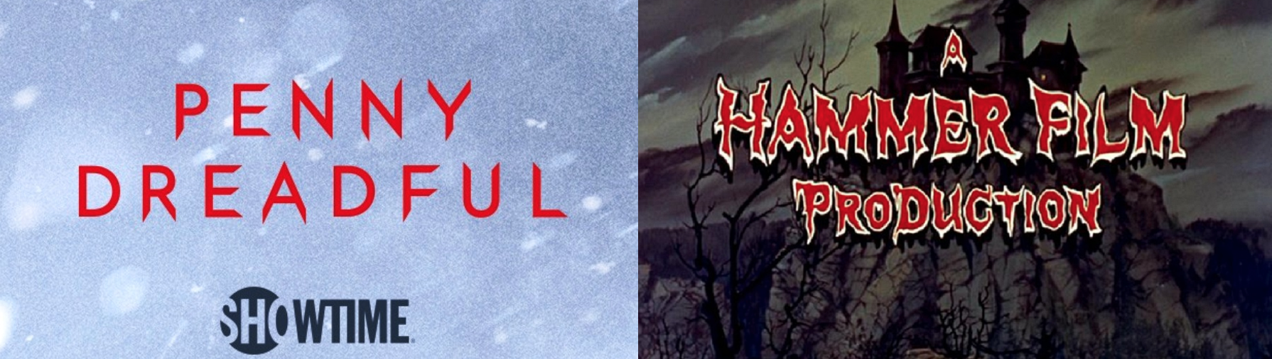 Logos for Penny Dreadful and Hammer Productions